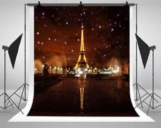 Paris Eiffel Tower Night Photography Backdrops Romantic Lights up Backgrounds for Photo Studio Props