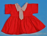 ältere Puppenkleidung, Puppenkleid, mit Krawatte