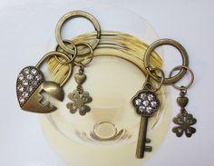 Love Key Lock & Key rhinestones Couple Keychains from Little Heartwarming by DaWanda.com