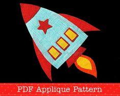Rocket Applique Template Spaceship Applique Pattern PDF Template