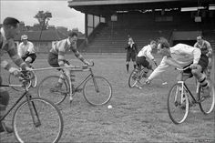 This photo of a bicycle polo match took place in London on the 3rd of July, 1948.