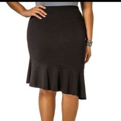 Asymmetrical Scuba Flounce Skirt Sz 26 Add a little flounce to your look with this skirt. The asymmetric hem adds a little flirt to your look! Made in USA. Size 26w 3x. Please make an offer using the offer button!! Thanks!! Skirts