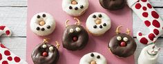 Christmas Reindeer donuts using yummy ALLEN'S JAFFAS! Get the recipe here: https://www.bakers-corner.com.au/recipes/allens/snowman-reindeer-donuts/