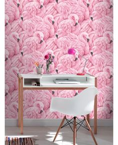 This stunning Flamingo Wallpaper in beautiful tones of pink would look great as a feature wall or when used to decorate a whole room.