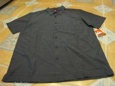 Men's Quiksilver short sleeve NEW M black button up shirt sea legs surf skate