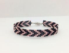 Loom Beaded Bracelet, Chevron Pattern, Black and Platinum Rose