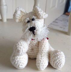 Crochet dog, white, Scottie dog Westie, west highland terrier.