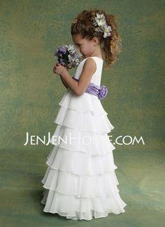 6854acc0231  US  76.99  A-Line Princess Floor-length Flower Girl Dress -  Chiffon Charmeuse Sleeveless Scoop Neck With Ruffles Sash Flower(s) -  JenJenHouse