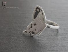 Anillo Mariposa Butterfly. Plata envejecida y satinada