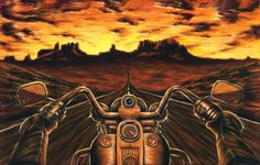 My painting of a motorcycle ride through death valley on a Harley Davidson motorcycle.  It is for sale on my website starting at $39 up to $249.