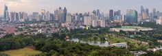 Senayan Golf Course and complete panoramic view of Sudirman in the background. Jakarta, Indonesia