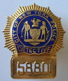 "Issued NYPD Detective gold shield, hallmarked ""Marwyn Co NYC Centre Mkt Pl"" Law Enforcement Badges, Local Police, Police Chief, Badge Holders, Cops, Detective, Patches, Cd Labels, Police Badges"