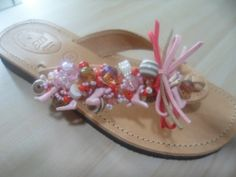 pink handmade in CHANIA CRETE decorated leather sandal by ellishoes.blogspot.com