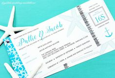 Cruise Ticket Style Wedding Invitations - Krystals Wedding Invitations #weddings #destinationweddings #ticketstyleinvitations