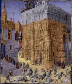 Construction du Temple de Jérusalem Flavius Josèphe, Les Antiquités judaïques, enluminure de Jean Fouquet, vers 1470-1475 Paris, BnF, département des Manuscrits, Français 247, fol. 163 (Livre VIII) Le roi Salomon, qui a ordonné la construction du Temple de Jérusalem, assiste à l'exécution des travaux du balcon de son palais.