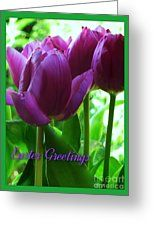 Purple Tulips Easter Greeting Greeting Card by Joan-Violet Stretch