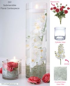 DIY Submersible Floral Centerpiece.  Cover the bottom of a clear glass vase with crushed glass vase filler.  Arrange the faux flower stems.  Add water.  Afloral.com has all of the supplies you will need to recreate this look!  Designed by Oh Everything Handmade.