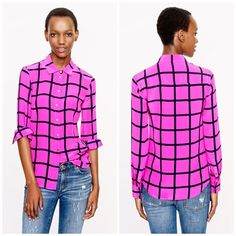 J. Crew Neon Silk Windowpane Button Up So cute and chic and perfect under a jacket or paired with a fit and flare skirt. Small fading of color on one sleeve as shown. Otherwise in excellent pre worn condition. Color has some purple but picks up as pink in certain light. No trades!! 026163500gwpg J. Crew Tops Button Down Shirts