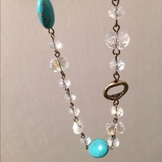 "🎉HP🎉Turquoise and crystal necklace 16"" length. Gold accents. Was going to give as gift, but I never did. World market Jewelry Necklaces"