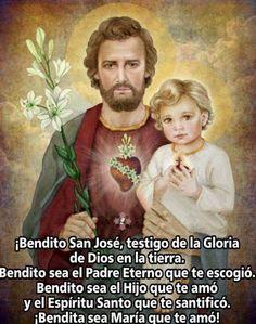 San Jose, Catholic Prayers In Spanish, Pictures Of Jesus Christ, Christmas Poems, God Prayer, Catholic Saints, Jesus Cristo, St Joseph, Holy Spirit