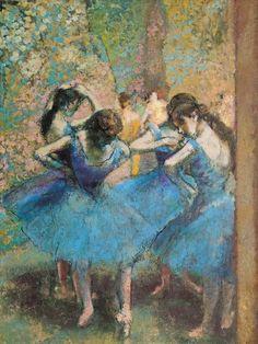 Edgar Degas - Dancers in Blue Famous Impressionist Paintings, French Impressionist Painters, Degas Paintings, French Paintings, Paintings Of Dancers, World Famous Paintings, Edgar Degas, Degas Ballerina, Ballerine Degas