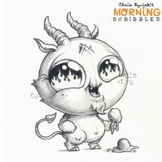 Chris ryniak - morning scribbles - cute and funny art Cute Monsters Drawings, Cartoon Monsters, Little Monsters, Cartoon Drawings, Animal Drawings, Cute Drawings, Doodle Monster, Monster Drawing, Desenho Tattoo