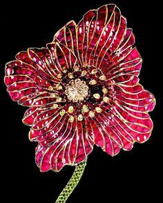 Poppy-Flower brooch by Stefan Hemmerle