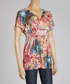 Look what I found on #zulily! Pink & Blue Floral Sublimated V-Neck Top #zulilyfinds