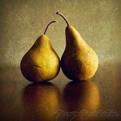Still Life Fine Art Photograph, Two Golden Yellow Pears, Yellow, Brown, Kitchen Art, Home Decor, Fruit, Summer, 8x8 Square Print. $30.00, via Etsy.