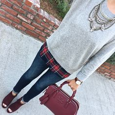 grey plaid sweater, Petite ankle jeans, burgundy peep toe booties, burgundy thea satchel, crystal bib necklace, brown leather watch, petite fashion, fall outfit, casual outfit - click the photo for outfit details!