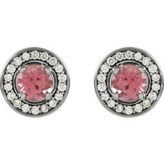14 Karat White Gold Pink Tourmaline and Diamond Halo Style Earrings