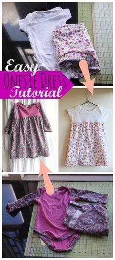 Onesie Dress Sewing Tutorial #sewing #sewingforbaby #sewingtutorial