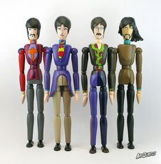 The Beatles Yellow Submarine Art Dolls - Unusual Art - Articulated Wooden Figure - Original Pop Art - Hand Painted by ArtDuritos, $392.00 #artdoll #TheBeatles #YellowSubmarine