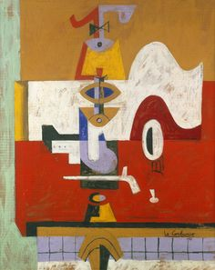 From Galerie Zlotowski, Le Corbusier, Totem (Still life on a table) Casein paint on cardboard, × cm Le Corbusier, Architecture Design, Walter Gropius, Wassily Kandinsky, Art Plastique, House Painting, Oeuvre D'art, Online Art, Les Oeuvres