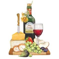 Wine And Cheese Painting | Art by Me - Carole Foret Giclee Prints ...