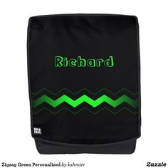 Zigzag Green Personalized Backpack