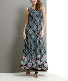 Loving this Navy Plaid Paisley Button-Front Maxi Dress on #zulily! #zulilyfinds