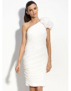 f8f90555333e1 One Shoulder Ruched Flower Knee Length Wedding Dress Bridal Party Dresses