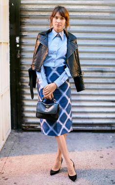 Falda estampada +blusa en azul