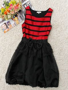 Red Round Neck Sleeveless Striped Bow Cotton Dress US$73.60