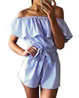 WOCACHI Damen Sommer Jumpsuits Frauen Art und Weise weg vom Schulter Streifen Muster Bowknot Bodysuit Overall Playsuit Blau