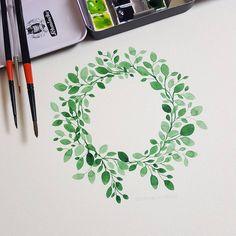 "Watercolor Wreath. Illustrator Mina Park 미나뜨 (@minartillust) on Instagram: ""Watercolor Illustration Wreath"