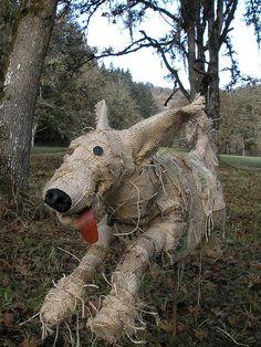 Scarecrow dog by hilly bean Make A Scarecrow, Halloween Scarecrow, Holidays Halloween, Fall Halloween, Halloween Crafts, Fall Crafts, Scarecrow Ideas, Halloween Yard Art, Halloween Stuff