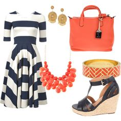 outfit: navy / white striped elbow-sleeved dress, gold dangly studs, coral handbag, coral gemstone necklace, gold / coral brick-printed cuff bracelet, black / thatched sandal platform wedges
