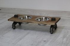 Dog cat pipe and wood bowl stand, loft dog cat bowl stand, pipe and wood pet feeder, loft pet furniture, elevated pet feeding bowls Resin Furniture, Pet Furniture, Dog Food Bowls, Pet Bowls, Wood Dog Bowl Stand, Dog Food Stands, Pet Feeder, Wood Bowls, Dog Cat