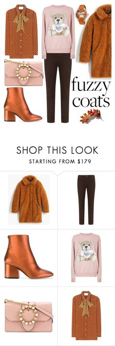 """""""Teddy Coat"""" by victoria-styling ❤ liked on Polyvore featuring J.Crew, Silver Jeans Co., Salvatore Ferragamo, Moschino, Miu Miu and Gucci"""
