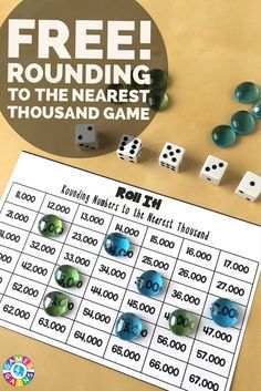 This hands-on rounding numbers game provides a really fun way to practice rounding to the nearest thousand. Plus, it can be adapted to round to any place value!
