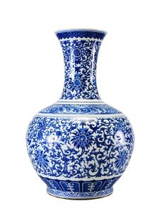 A LARGE OF BLUE AND WHITE BOTTLE VASE : Lot 240