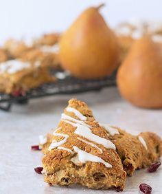Cranberry Pear Scones with Orange Glaze ~ Get the recipe from ItsYummi.com
