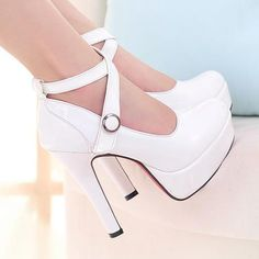 Fashion Round Closed Toe Chunky High Heels White PU Crossed Ankle Wrap Pumps_Pumps_Womens Shoes_Cheap Clothes,Cheap Shoes Online,Wholesale Shoes,Clothing On lovelywholesale.com - LovelyWholesale.com